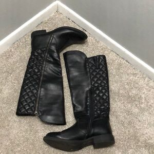 Mossimo Supply Co Quilted Black Knee High Boots